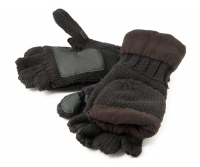 Рукавицы-перчатки с обрезанными пальцами вязанные с флисом тёмные